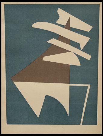 Litografia Magnelli - Composition sur fond bleu