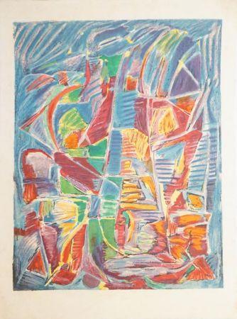 Litografia Lanskoy - Composition sur fond bleu