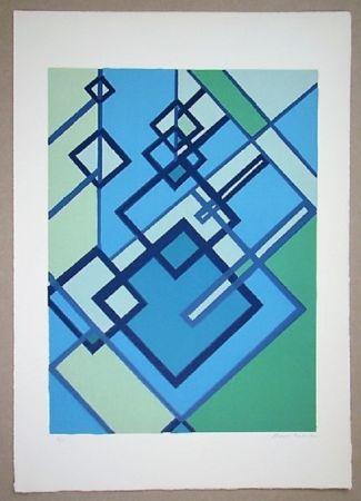 Litografia Radice - Compositione astratta blu verde