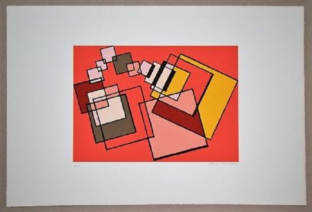 Litografia Radice - Compositione astratta rosa