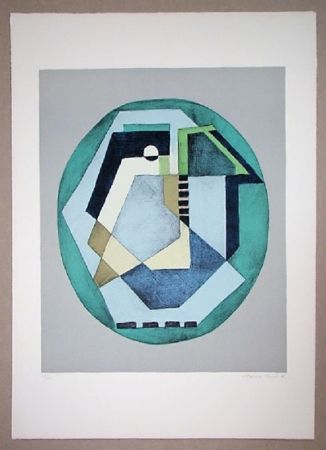 Litografia Radice - Compositione astratta verde