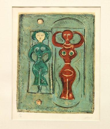 Litografia Campigli - Composizione Con Due Figure