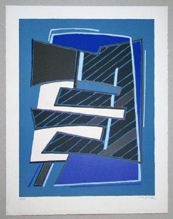 Litografia Magnelli - Composizione in Azzuro, 1965