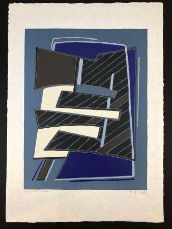 Litografia Magnelli - Composizione in Azzurro