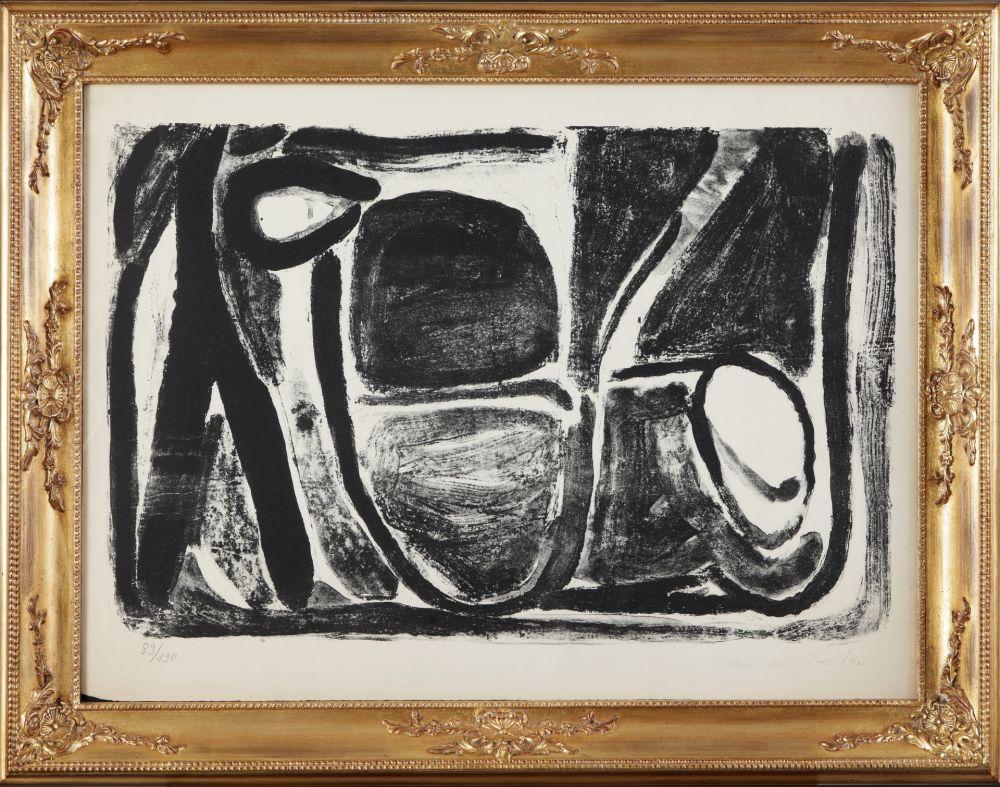 Litografia Van Velde - Composizione in bianco e nero