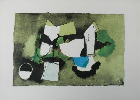 Litografia Afro - Composizione in verde