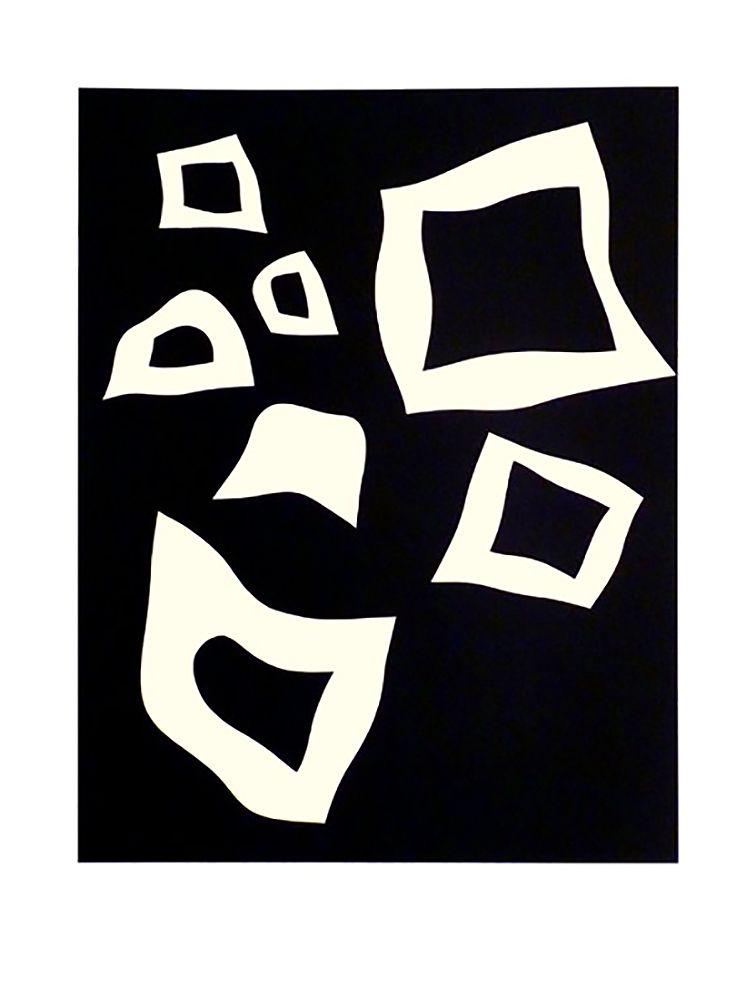 Litografia Arp - CONSTELLATION 7 BLANCHES SUR NOIR (1960).