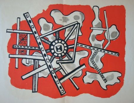 Litografia Leger - Construction sur fond rouge