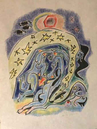 Litografia Masson - Couple aux étoiles