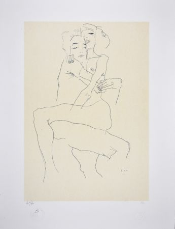 Litografia Schiele - Couple enlacé / couple embracing - 1911