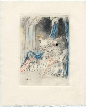 Libro Illustrato Icart - Crébillon : LA NUIT ET LE MOMENT. 25 eaux-fortes de Louis Icart (1946).
