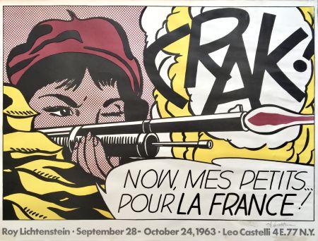 Litografia Lichtenstein - Crak! Hand Signed Exhibition Poster 1963