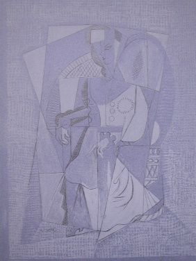 Litografia Lhote - Cubistic woman (femme assise)