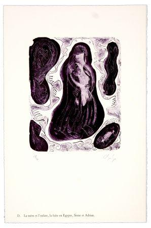 Litografia Nørgaard - D. La mère et l'enfant, la fuite en Egypte, Sinne et Adrian