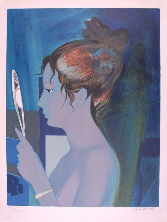 Litografia Hilaire - Dame au miroir