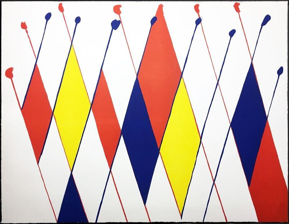 Litografia Calder - Damier de losanges bleus jaunes rouges (1966).