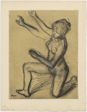 Acquaforte E Acquatinta Degas - Danseuse : étude de nu et mouvements (vers 1896)