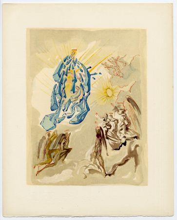 Incisione Su Legno Dali - Dante recouvre la vue. La Divine Comédie (Le Paradis, Chant 26)