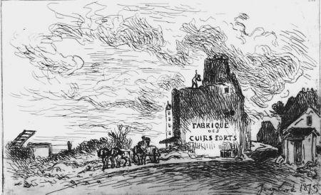 Acquaforte Jongkind - Demolitions de la rue des Francs-Bourgeois Saint-Marcel