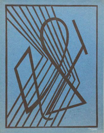 Linoincisione Domela - Der Leser (The reader)