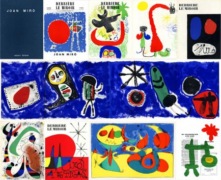 Libro Illustrato Miró - DERRIÈRE LE MIROIR n° 14-15 (Nov-Décembre 1948) + n° 29-30 (Mai 1950) + n° 57-58-59 (Juin 1953) + n° 87-88-89 MIRO ARTIGAS (Juin-Juillet-Août 1956). 25 LITHOGRAPHIES ORIGINALES. ALBUM MAEGHT ORIGINAL.