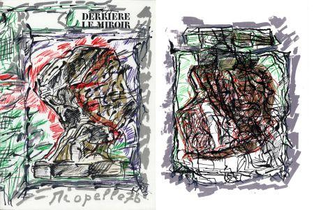 Libro Illustrato Riopelle - Derrière le Miroir n° 218. RIOPELLE. 4 LITHOGRAPHIES ORIGINALES. Mars 1976.