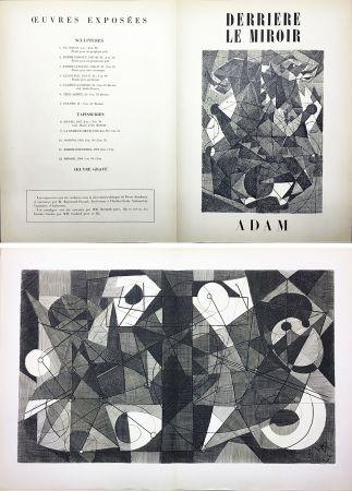 Incisione Adam - Derrière le Miroir n° 24. ADAM .1949. Gravure originale.