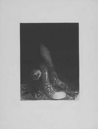 Litografia Redon - Des fleurs tombent, e la tete d'un phyton parait