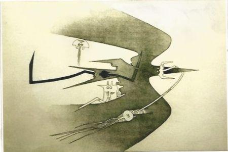 Incisione Lam - Des hommes -oiseaux, des nageurs-courbes