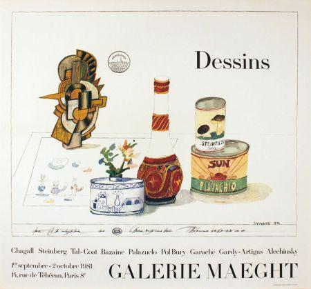 Manifesti Steinberg - DESSINS. Galerie Maeght 1981. Tirage de luxe de l'affiche.