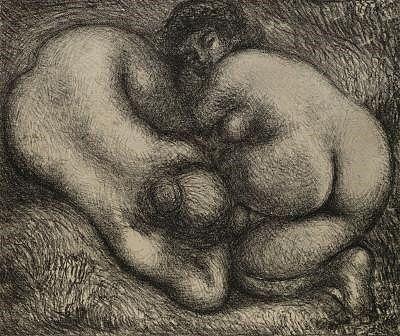 Litografia Maillol - Deux femmes dans l'herbe.