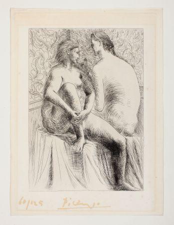 Acquaforte Picasso - Deux femmes nues