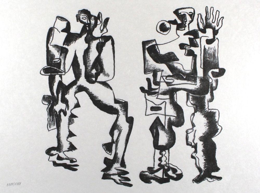 Litografia Zadkine - Deux figures
