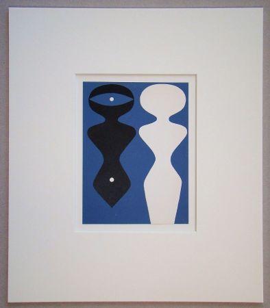 Incisione Su Legno Arp - Deux figures sur fond bleu
