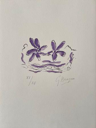 Incisione Su Legno Braque - Deux fleurs violettes