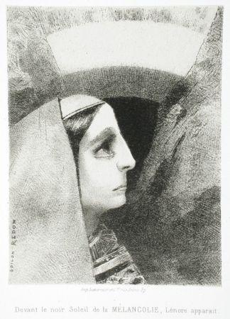 Litografia Redon - Devant Le Noir Soleil De La Mélancolie, Lénore Apparaît