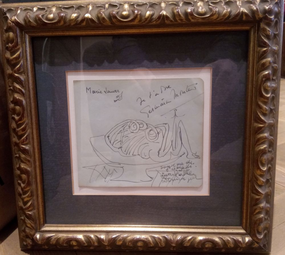 Non Tecnico Dominguez - Dibujo con dedicatoria a Marie Laure de Noailles