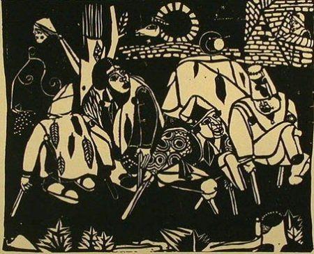 Incisione Su Legno Campendonk - Die Bettler (Nach Bruegel) / The Beggars (After Bruegel)