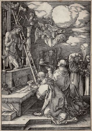 Incisione Su Legno Durer - Die Messe des heiligen Gregor (The mass of St. Gregory)