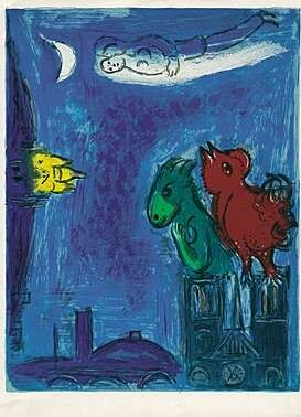 Litografia Chagall - Die Scheusale von Notre-Dame