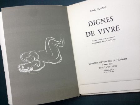 Libro Illustrato Fautrier - DIGNES DE VIVRE. Lithographies de Fautrier. 1944