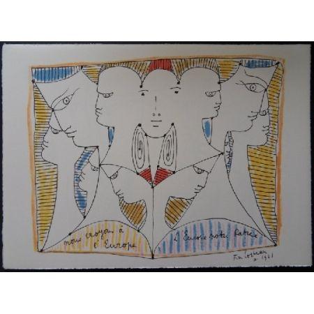 Litografia Cocteau - Diversité de l'Europe