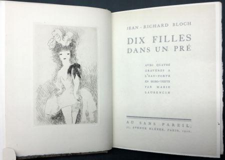 Libro Illustrato Laurencin - DIX FILLES DANS UN PRÉ avec quatre gravures à l'eau-forte en hors-texte par Marie Laurencin (Ex. avec suite)