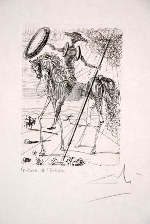 Acquaforte Dali - Don Quichotte - Don Quixote (suite Cinq Portraits espagnols - Five Spanish Immortals)