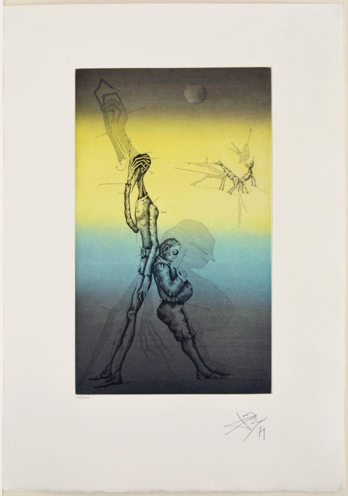 Acquaforte E Acquatinta Ponç - Don Quichotte et Sancho à dors, XVI