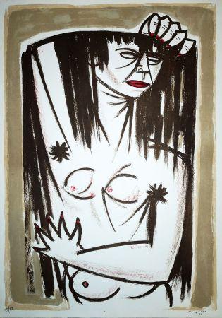 Litografia Migneco - Donna
