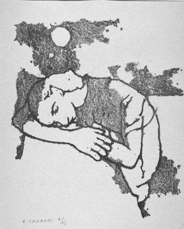 Litografia Casorati - Donna dormiente