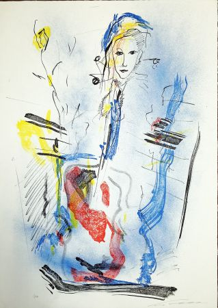Litografia Treccani - Donna e violino