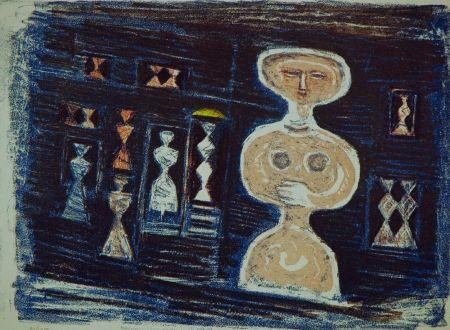 Litografia Campigli - Donna su fondo blu