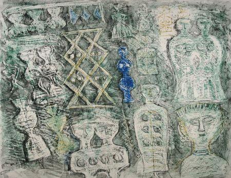 Litografia Campigli - Donna su fondo verde